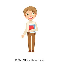 Boy In Brown Trousers And White Vest Holding Books Happy...