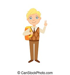 Boy In Brown Vest And Trousers With Backpack Happy Schoolkid In School Uniform Standing And Smiling Cartoon Character