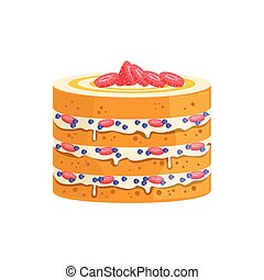 Sponge Cake With Berries And Cream Decorated Big Special Occasion Party Dessert For Wedding Or Birthday Celebration
