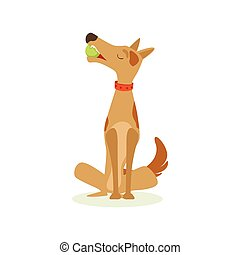 Brown Pet Dog Sitting With Gulf Ball In Mouth, Animal Emotion Cartoon Illustration