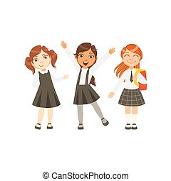 Girls In Black And White Outfits Happy Schoolkids In Similar...