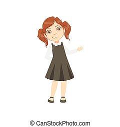 Girl In Black Dress Happy Schoolkid In School Uniform...