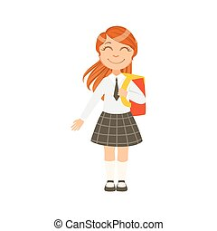 Girl In Black Checkered Skirt And Tie Happy Schoolkid In...