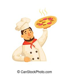 Chef Holding Pizza,Part Of Italian Fast Food Cuisine...