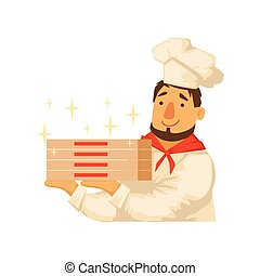Chef Holding Pile OF Pizza Boxes,Part Of Italian Fast Food...
