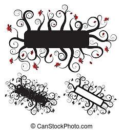 Grunge floral frame, elements for design, vector - Three...