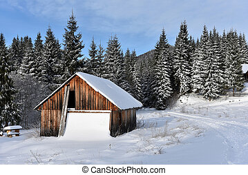 Alpine house covered with snow in the mountains