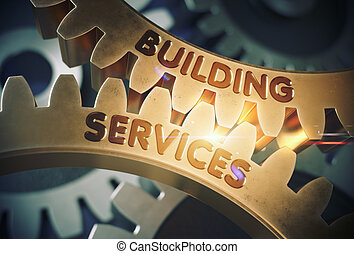Building Services Concept. Golden Gears. 3D Illustration. -...