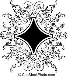 Element for design, frame flower, vector