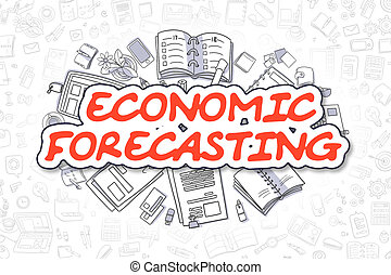 Economic Forecasting - Cartoon Red Word. Business Concept. -...