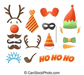 Christmas Party set Glasses, hats, mustaches, masks