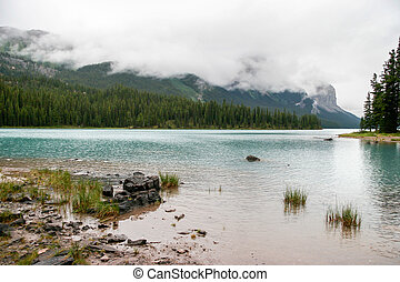 Maligne Lake on a Cloudy Day
