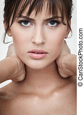 displeased woman portrait - strong facial expression and...