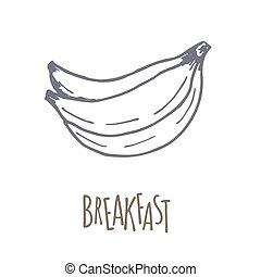 Breakfest hand drawn icon over white background. Doodle...