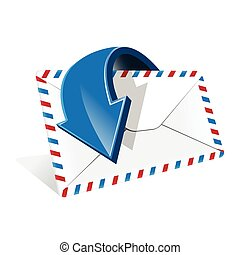 Envelope - Illustration, blue arrow around white envelope on...