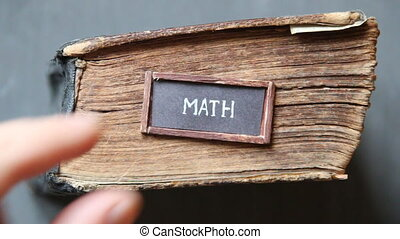 math idea, for education industry - math, old book on a...