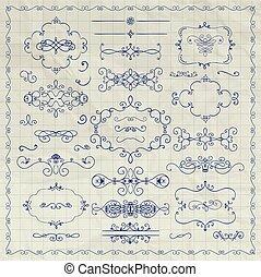 Vector Pen Drawing Decorative Vintage Design Elements - Pen...