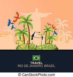 Rio 2016 games. Travel in Brasil. South America. Statue of...