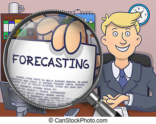Forecasting through Magnifier. Doodle Design.
