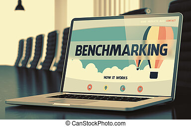 Laptop Screen with Benchmarking Concept. 3D. - Benchmarking...