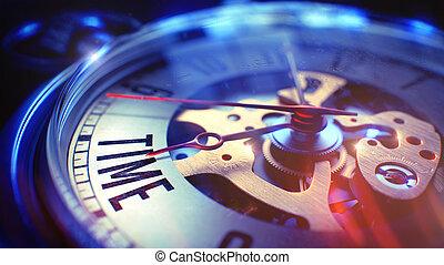 Time - Text on Vintage Pocket Clock. 3D Render. - Vintage...