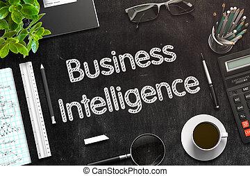 Business Intelligence on Black Chalkboard. 3D Rendering. -...