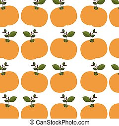colorful pattern of tangerines with stem and leafs vector...