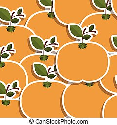 silhouette colorful pattern of tangerines fruit with stem...