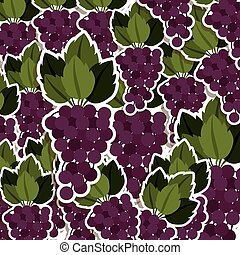 silhouette colorful pattern of bunch grapes with stem and...