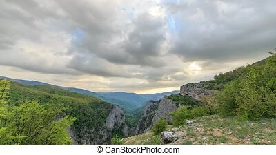 Sunset over the Grand Canyon of Crimea. Time Lapse. Natural...