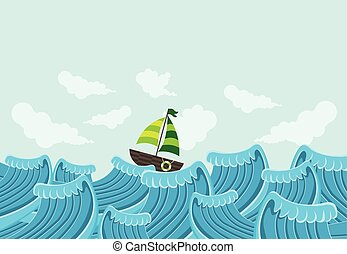 Sail boat on a beautiful sea with waves