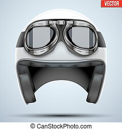 White motorcycle classic helmet with goggles. Transportation...