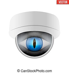 CCTV security camera with reptile eye. Technologies for...