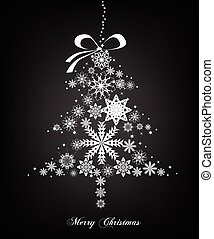 Christmas silver Tree with stars. Vector
