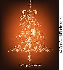 Christmas orange Tree with stars. Vector