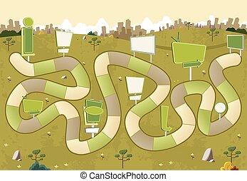 città, tabelloni, gioco, asse, percorso, blocco