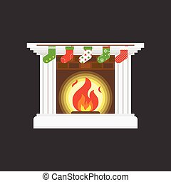 Fireplace and christmas socks hanging in front of fire place, flat design vector