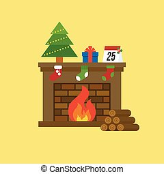 fireplace and christmas tree, present box, calendar of 25 december, firewood for christmas holidays, flat design vector