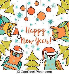 Christmas card with cartoon owl