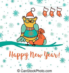 Merry Christmas and Happy New Year. Greeting card with cute...