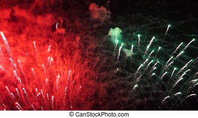 Fireworks and smoky traces in sky - Holiday bright fireworks...