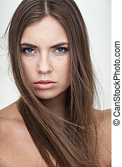 resentful woman portrait - strong facial expression concept...
