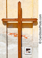 wall abstract in italy background - wall abstract cross in...