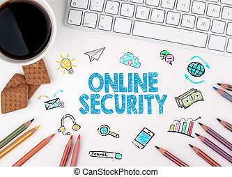 Online Security, Business concept. White office desk