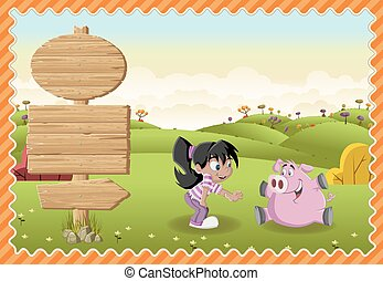Cartoon girl playing with a pig on a green park.