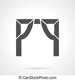 Tented arch glyph style vector icon - Abstract silhouette...
