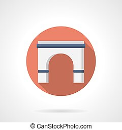 Entrance arch flat round vector icon