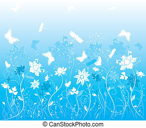 Background flower with butterfly, illustration