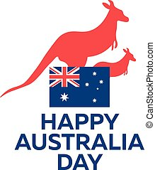 Happy Australia day. 26 january. Vector illustration. -...