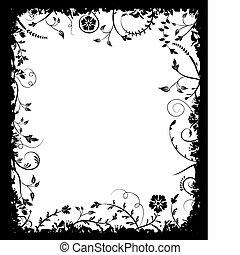 Grunge frame flower, elements for design, vector...